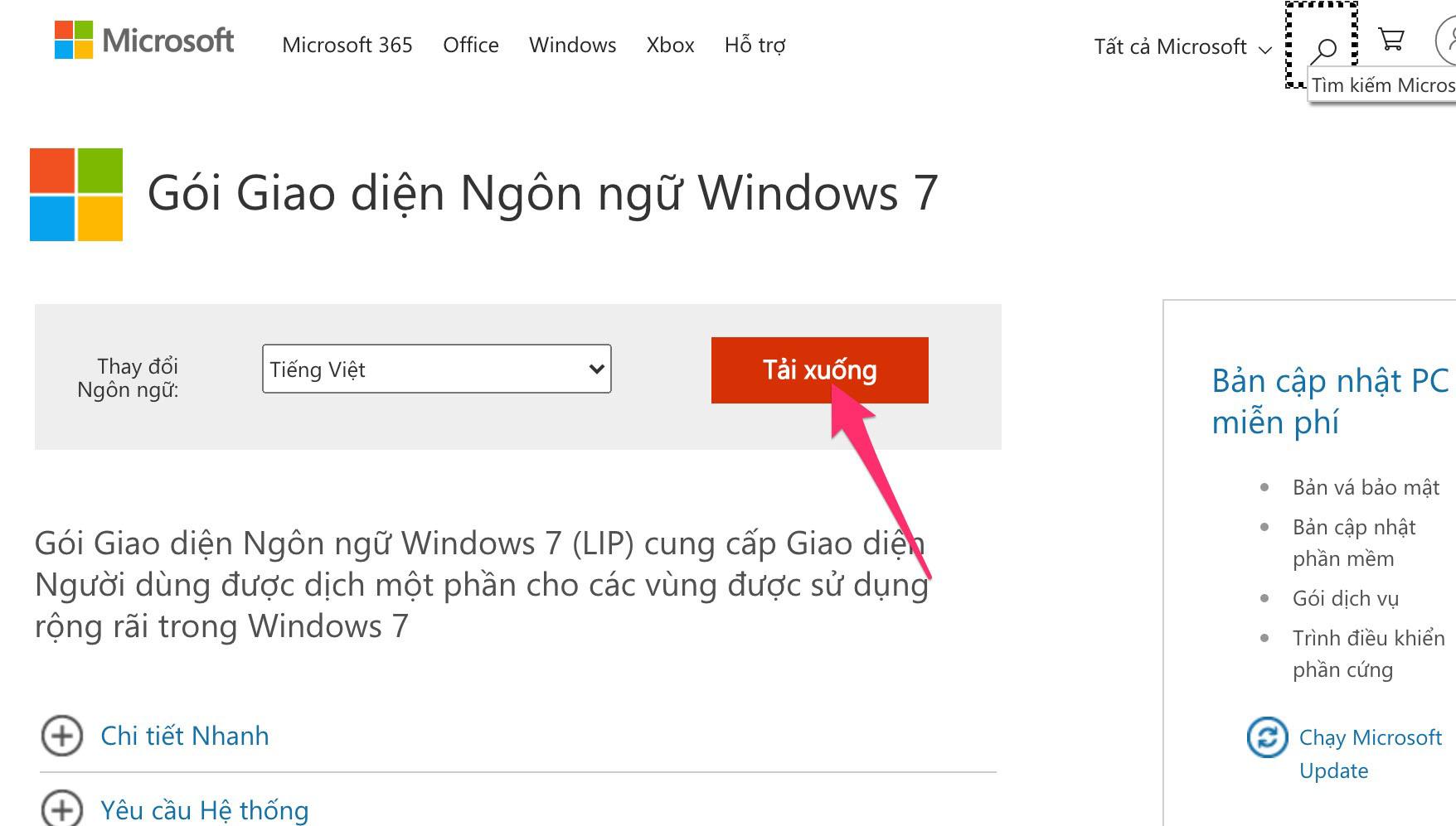 Cách tải cài ngôn ngữ Tiếng Việt cho máy tính Windows 7