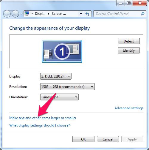 Cách chỉnh cỡ chữ trên máy tính Windows 7 2