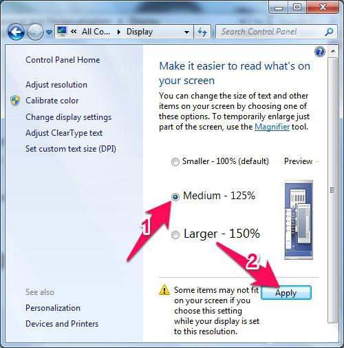 Cách chỉnh cỡ chữ trên máy tính Windows 7 3
