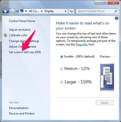 Cách chỉnh cỡ chữ trên máy tính Windows 7 5