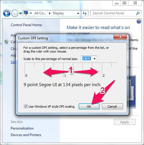 Cách chỉnh cỡ chữ trên máy tính Windows 7 6