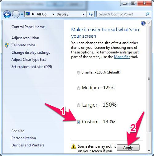 Cách chỉnh cỡ chữ trên máy tính Windows 7 7