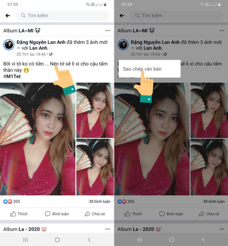 Cách copy bài viết trên Facebook bằng điện thoại Android