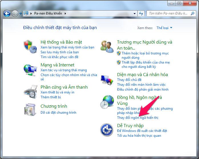 Cách đổi ngôn ngữ Tiếng Việt sang Anh trên máy tính Windows 7 - Bước 3