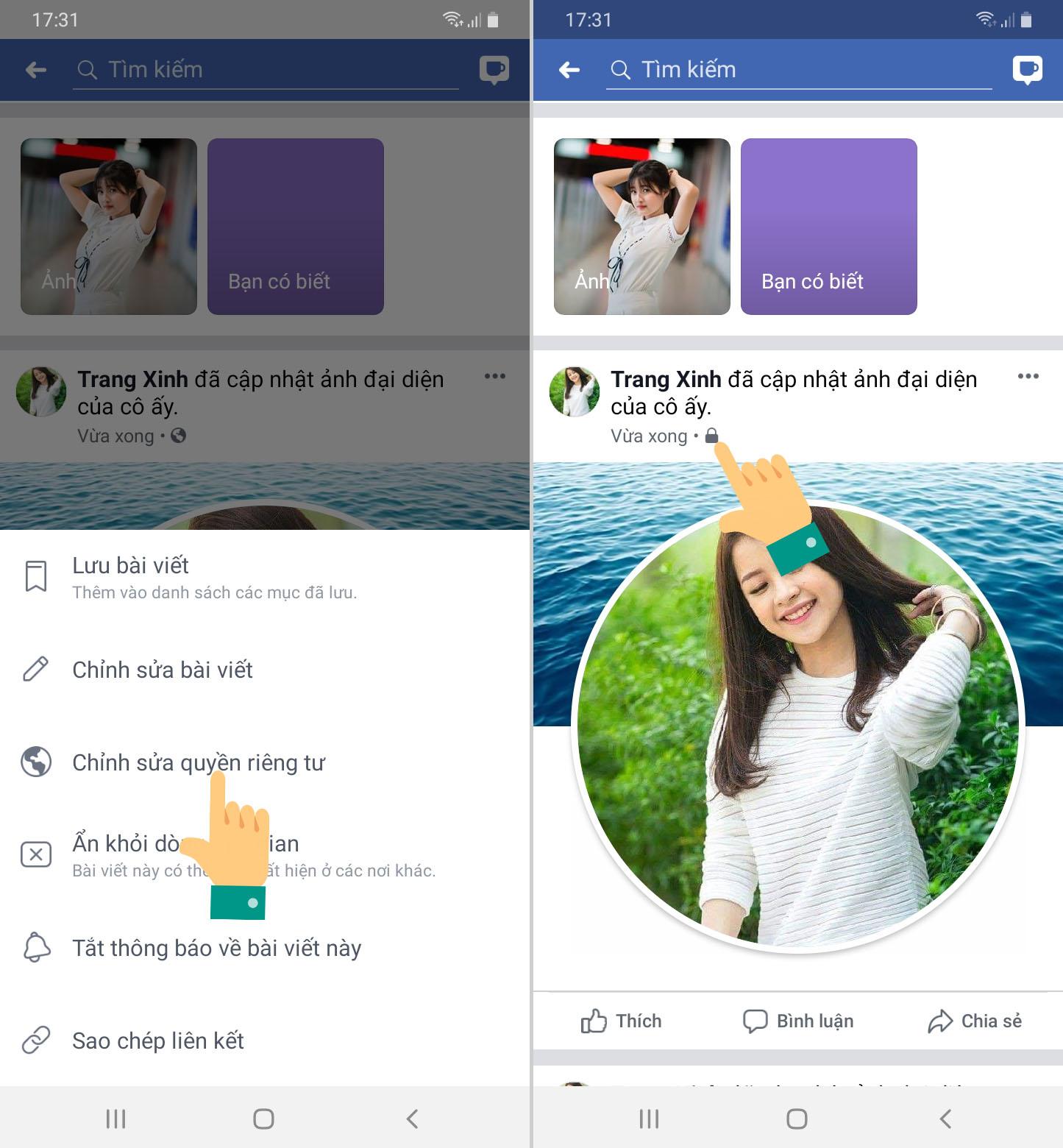 Cách khóa ảnh đại diện Facebook không cho người khác like, bình luận trên điện thoại