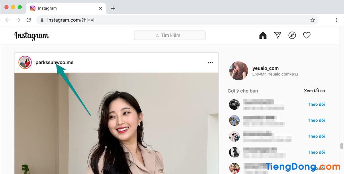 Cách lấy link instagram của người khác trên máy tính