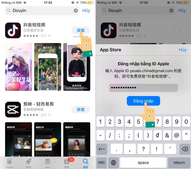 Cách tải TikTok Trung Quốc cho iPhone bằng tài khoản có sẵn Bước 2
